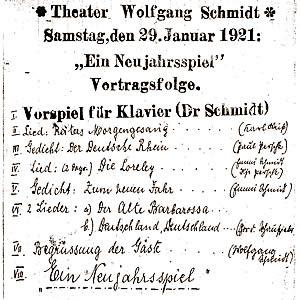 Theaterzettel 1921 - Neujahrsspiel