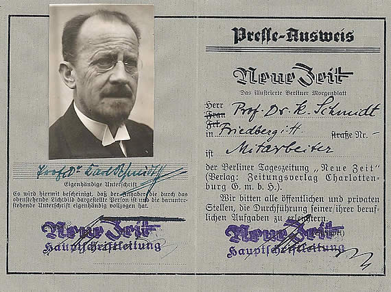 Presseausweis Karl Schmidt